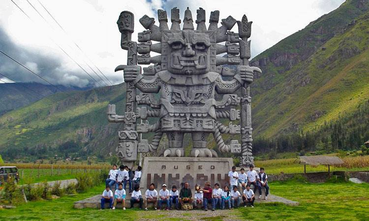 Megalithic statue in Urubamba – Cusco, monument in representation of the god Wiracocha